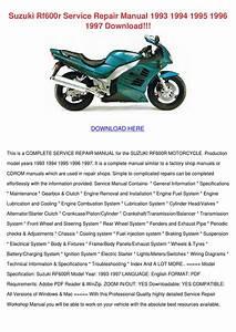 Suzuki Rf600r Service Repair Manual 1993 1994 By