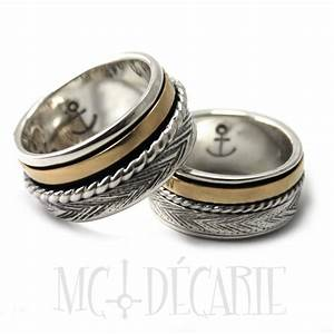 his and hers 2 sailor spinner ring set with 10k gold wedding With spinner wedding ring sets