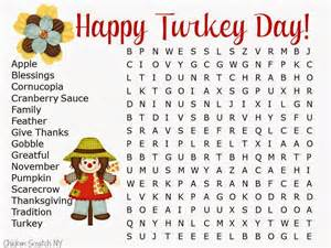 Kids Thanksgiving Word Searches
