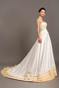 ivory and gold strapless taffeta wedding dresses with lace With gold and ivory wedding dress