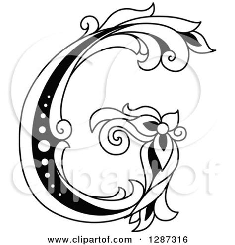letter g black and white clipart of a black and white vintage floral capital letter