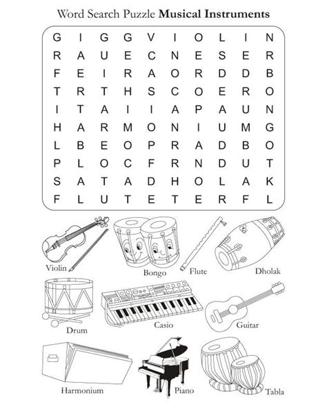 color in pages word search puzzle musical instruments