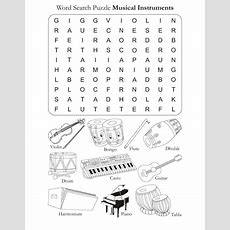 Color In Pages Word Search Puzzle Musical Instruments Free Download  Elementary Music