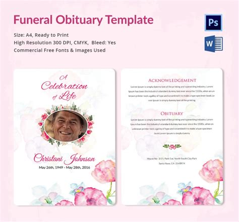 funeral obituary templates  word  psd