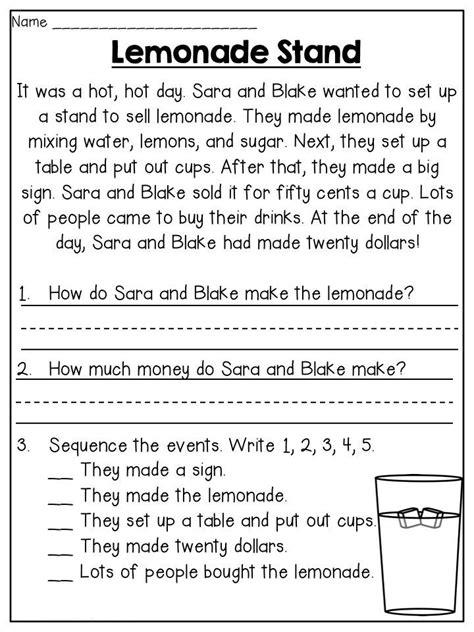 grade worksheets reading comprehension worksheets