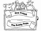 Ticket Potty Coloring Training Train Ride Got Ve sketch template