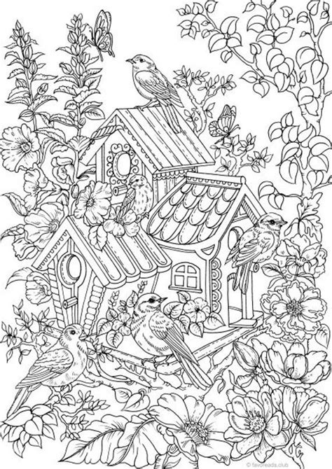 birdhouse printable adult coloring page  favoreads etsy