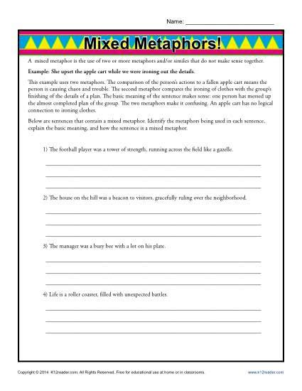 mixed metaphors worksheet figurative language