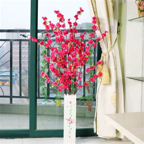 peach blossom artificial flower living room dining table