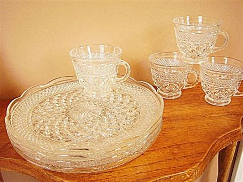 wexford hocking anchor clear glass crystal snack glassware piece plates tupperware cups plate etsy dishware antique