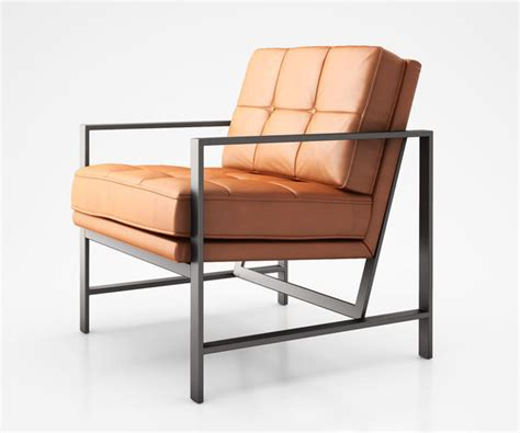 Metal Frame Tufted Leather Chair By West Elm 3d Model Max
