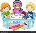 Illustration Diverse Group Preschool Kids Working Stock ...