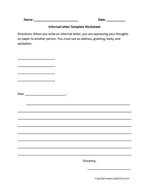 letter writing worksheets informal letter writing worksheets