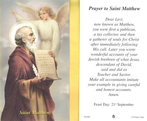 st matthew with prayer to saint matthew paperstock holy card ebay