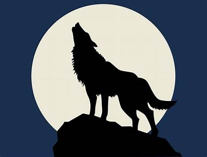 Howling Wolf Moon Silhouette