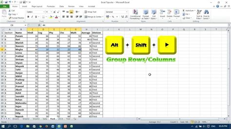 excel rows keyboard ungroup columns shortcuts microsoft