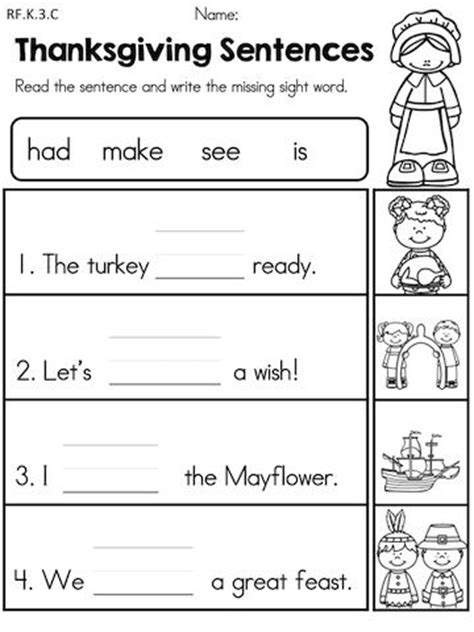 thanksgiving kindergarten language arts worksheets