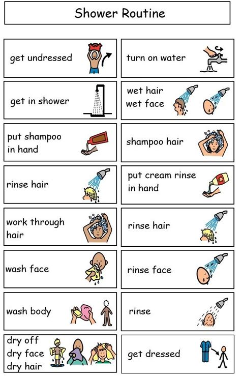 visual schedule for showering sle shower mini schedule visuals minis