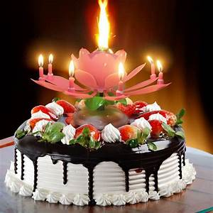 Birthday Candle Lotus Flower Blossom Musical Party Cake