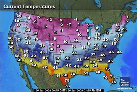 weather map current temperatures across cities temp shows showing temperature maps cooler colors states united january winter cold contiguous general