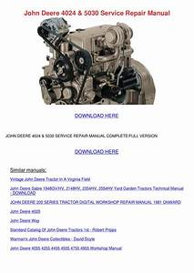 John Deere 4024 5030 Service Repair Manual By Koreyhughes