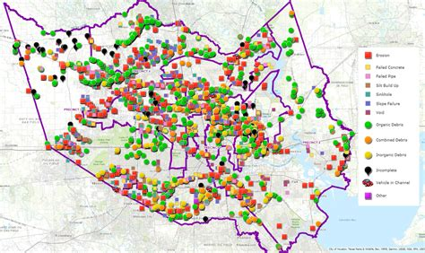 map  houstons flood control infrastructure shows areas
