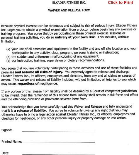 Fitness Waiver Form Canada