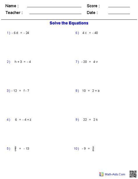 Prealgebra Worksheets  Equations Worksheets