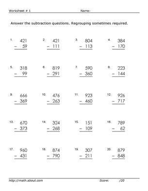 practice  digit subtraction    math