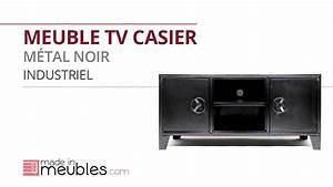 Meuble Tv Casier Industriel : meuble tv casier metal noir industriel industriel youtube ~ Nature-et-papiers.com Idées de Décoration