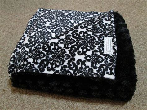 Adult Size Minky Blanket/throw ~~ Black And White Damask Minky Blanket