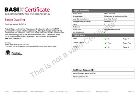 Water Efficiency Certificate Template Basix Certificates Basix Building Sustainability Index