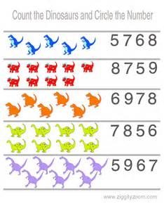 Preschool Counting Dinosaurs Worksheet