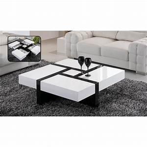 Table De Salon Ikea : table basse laqu e noir et blanc emilie achat vente ~ Dailycaller-alerts.com Idées de Décoration