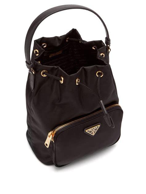 prada nylon  leather bucket bag  black lyst