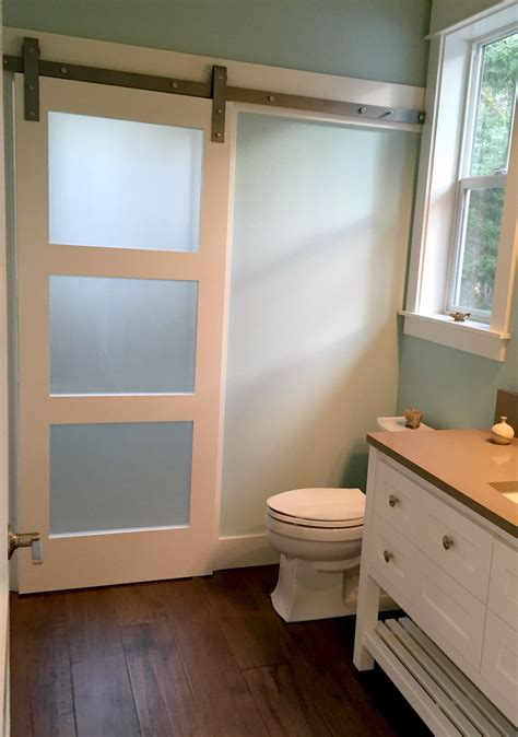 bathroom door frosted glass barn door adds privacy to shower room on