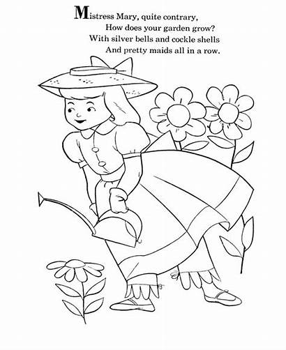 Nursery Coloring Rhymes Goose Pages Mother Mary