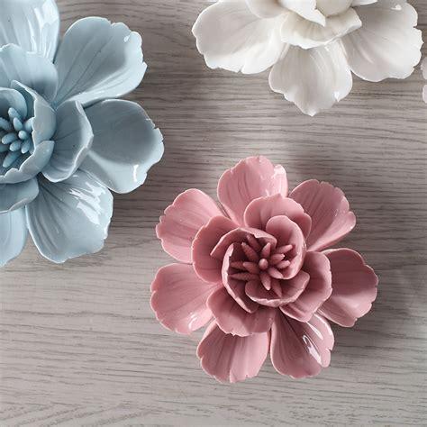pcs blue ceramic tlower  dimensional decoration wall