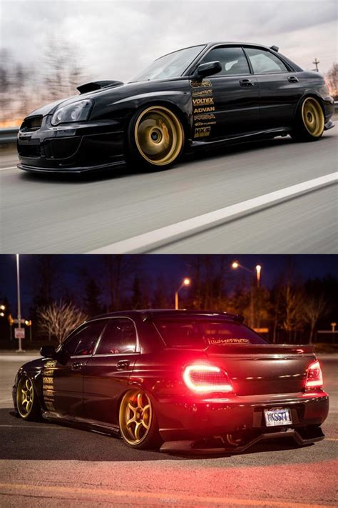 custom black  subaru sti turbo   gold rims