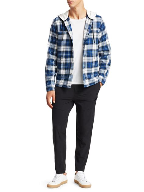 madison supply plaid cotton flannel hooded shirt  blue