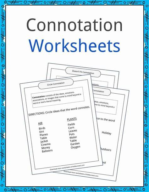 connotation exles definition and worksheets kidskonnect