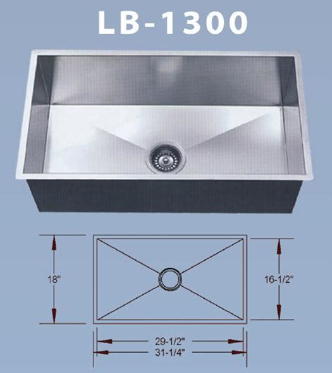 lb 1300 bs esi stainless singl bowl square undermount sink
