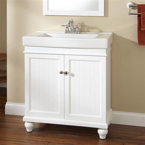 lander vanity white bathroom