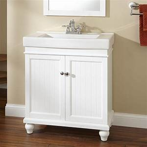 30quot lander vanity white vanities bath and bathroom for How deep is a bathroom vanity