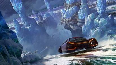 Wallpapers Sci Fi Flying Glaciers 3d Speed