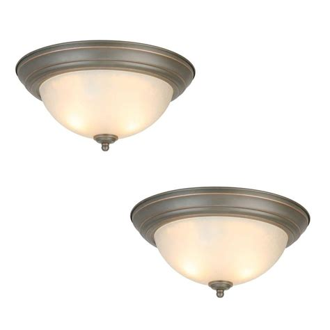 home depot flush mount ceiling light fixtures commercial electric 2 light oil rubbed bronze flushmount