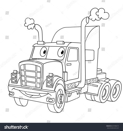 Semi Truck And Trailer Coloring Pages With Page Cartoon