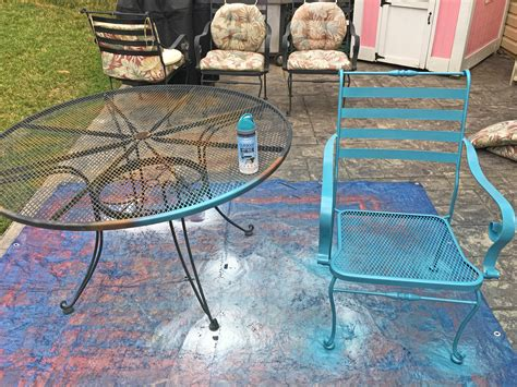 spray paint metal outdoor table home painting