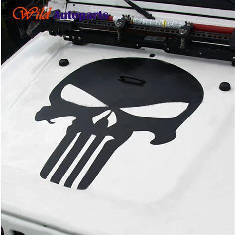jeep grand cherokee stickers universal matte black white skull head punisher hood