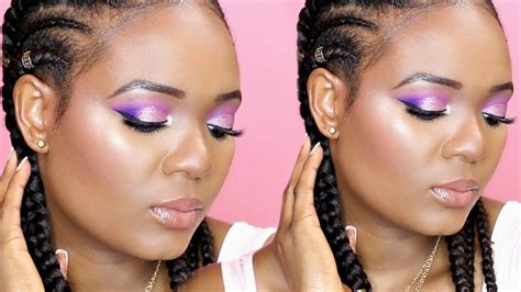 pink purple glitter makeup tutorial  browndark skin